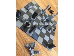 Ineterlocking chess board with hidden tile links
