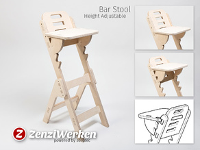 Height Adjustable Bar Stool cnc