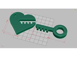 Heart and Key - key chain