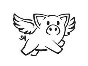 Winged pig stencil