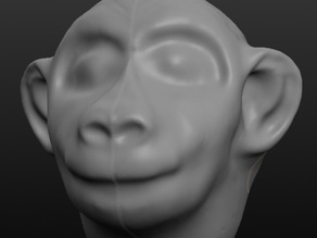 Young monkey head sculpt