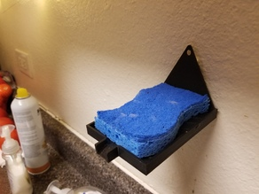 Wall mount sponge holder w/ water chute