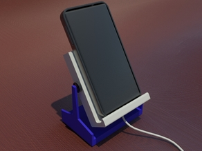 Adjustable smartphone holder with a ratchet hinge