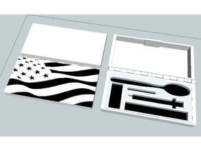 box for heroin utensils + United States flag