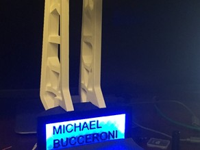 Extended Headphone Stand with Customizable Edge-Lit Nameplate