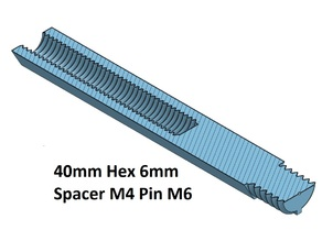 Hex 6 Spacer, Standoff 10, 20, 30, 40, 50, 60, 70, 80, 90, 100 mm; M4 Pin M6