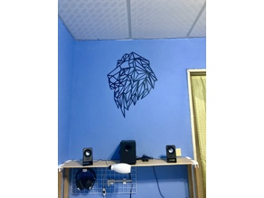 Geometric lion wall sculpture