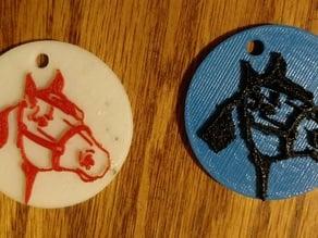 Horse Head Pendant-Earring-Tag