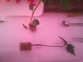 Tomato 45 deg grafting jig - max 3 mm stem dia - using razor blade