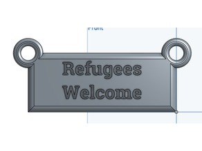 Refugees Welcome Hanging Sign