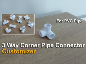 3 Way Corner Pipe Connector - Customizer