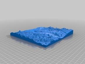 3D map of the Rhein valley around Basel, Switzerland