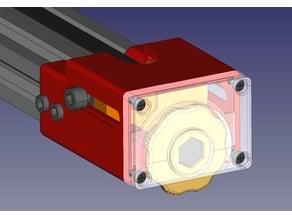 Y axis belt tensioner with discreet adjust wheel