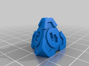 D4 Futuristic Pyramid Gears Dice - Single-Numbers