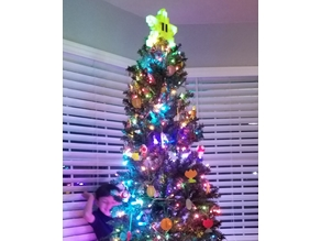 Lighted Super Mario Bros. Pixel Star Christmas Tree Topper