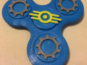 Fidget Tri-Spinner with Themed Bearing Caps