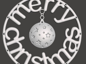 Christmas Tree Ornament - Merry Christmas with ball and stars