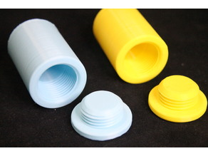 Cylindrical Container with threaded cap useful for carrying vitamins, etc