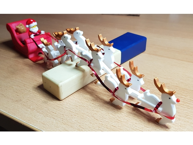 Chain Harness for Santa Sleigh with Reindeer and Lego minifigures by