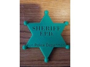 Sheriff Badge that says fun police.