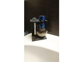 Stand for 26mm shaving brush and razor