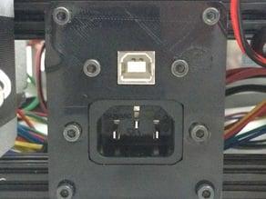 Kossel Clear USB & Power (IEC) Receptacle Mount