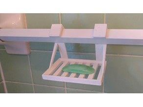 Hanging Soap Dish for Square Shower Rod angled at 45 degrees