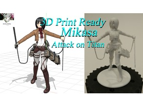 3D PRINT READY!! Mikasa from Attack On Titan