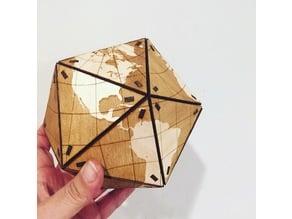 Dymaxion Globe - tabbed wooden vertices - K40 Whisperer