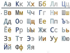 Russian Letters 20 mm for Resizing and Scaling with Fixation