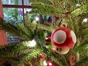 Super Mario Mushroom 1up Tree Ornament with Hoop