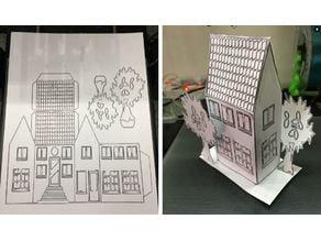 DrawPlott Drawing #House Glued Model