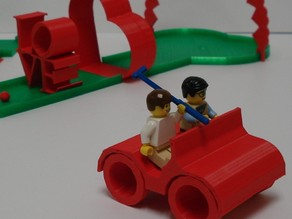 Minifig Golf Cart with Turning Wheels