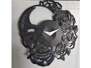 Skull & roses clock