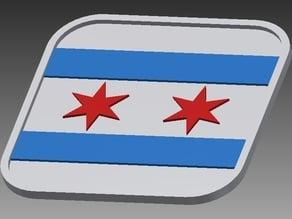 2-Star Chicago Flag Coaster