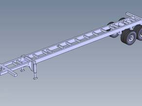 40 Ft Chassis Trailer HO Scale