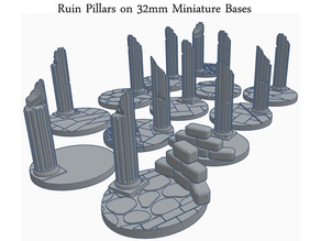 32mm Round Bases With Ruin Pillars (x12) for Dungeons & Dragons or fantasy tabletop Miniatures