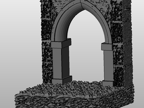 Gothic RPG Tile - 2x2 open archway wall plus floor
