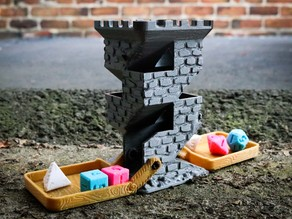 Brick Dice Tower with Fold-Up Wooden Drawbridges