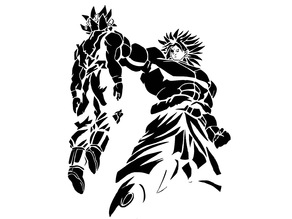 Goku and Broly stencil