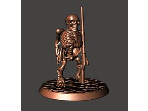 28mm Undead Skeleton Dwarf Warrior - Armed with Musket