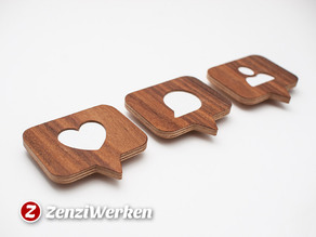 Real Wood Like/Comment/Follower Badges cnc/laser