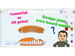 Laser Cut TinkerCAD Beard Comb