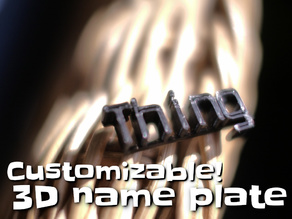Customizable 3D name plate