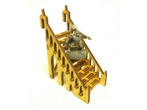 Narrow straight staircase 4x8xx8 cm for 3mm laser cut MDF