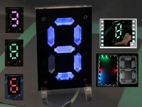 Seven Segment Digit - Lasercut Acrylic - 22 Ws2812 LED-Strip  by FOLKER