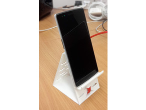 Phone stand with a cable tunnel