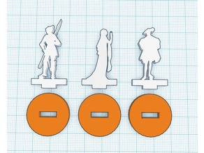 Silhouette Minis - Set 6 - Knight, Maiden and Merchant
