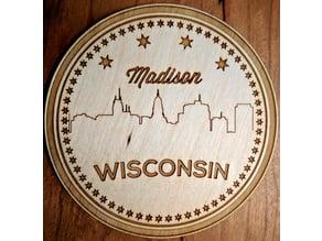Laser cut coaster of the Madison skyline