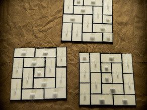 Tatami Tilings Set: Square Grid, 1x1 Monomino and 1x2 Domino Tiles